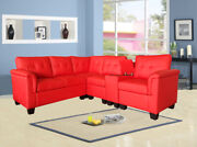 Greatime Fashion Leatherette Sectional Sofa With Cup Holders Storage Console