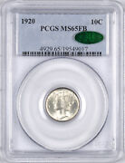 1920 Mercury Silver Dime Full Bands Cac 10c - Pcgs Ms65 Fb Cac -