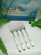 4 International Rogers And Bros Adoration Silverplate Dinner Forks 1930 Free Ship