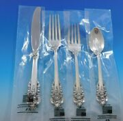 Grande Baroque By Wallace Sterling Silver Flatware Set For 8 Service 36 Pcs New