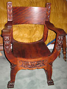 Antique Wood Barrel Style Captains Chair Carved Old Man Winter Lion And Claw Feet