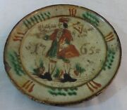 Antique Early German Pottery Plate Figural Slip And Script Decorated Dated 1765