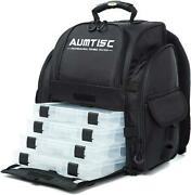 Aumtisc Fishing Backpack Large Tackle Bag With Protective Rain Cover And 4 Trays