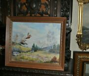 Pair Of Pheasant Painting By Well Listed Texas Artist Vivian Love 1908 - 1982