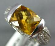 Estate 2.42ct Diamond And Aaa Citrine 14kt White Gold 3d Filigree Fun Summer Ring