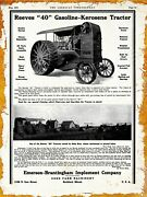 1915 Emerson Brantingham Implement Co. New Metal Sign Reeves 40 Tractor