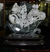 Chinese Feng Shui Natural Xiuyu Hand-carved Flowers And Birds Lucky Ruyi Statue