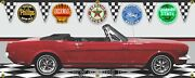 1964 Ford Mustang Red Convertible Car Garage Scene 13oz. Vinyl Banner. Two Sizes
