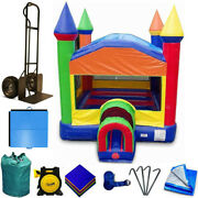 Commercial Inflatable Bounce House Package Backyard Kids Rainbow Jumping Castle