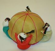 Vintage Chinese Sewing Pin Cushion With 4 Dolls Excellent S1