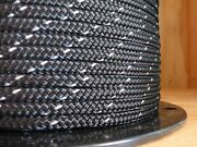 1/4 X 129 Ft.premium Polyester Halter/accessory Rope.black W/ 3m Reflective.