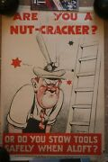 Vintage Are You A Nut-cracker Industrial Poster Ministry Of Labour Original Rare