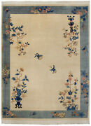 Rra 9x12 Chinese Peking Vase Design Butterflies Ivory And Blue Rug 28639