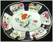 19th C. Gaudy-style Floral Polychrome Ironstone Platter