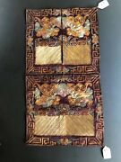 3 Pieces Antique Chinese Embroidered Silk Rank Badges 19th C Tongzhi Period