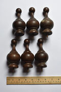 6 Turned Wood Finials 3 Pairs Antique Late 1800and039s Early 1900and039s Clock Curtain Rod