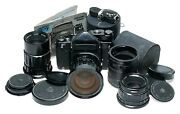 Pentax 6x7 Large Format Film Camera Outfit Many Lenses 3.5/55mm Manuals Tubes