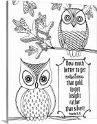 Diy Coloring Book Canvas Art Entitled How Much Better To Get Wisdom Than Gold