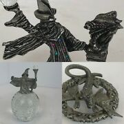 Spoontiques Pewter Wizard With Orbs, Pewter Dragon, Wizard With Orb And Dragon