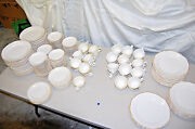 Restaurant Style Scalloped Rim Tan Band China Vintage 173 Pieces Assorted L2438