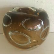 Rare - Murano Italy Hand Blown Glass Ashtray - Controlled Bubble Rings