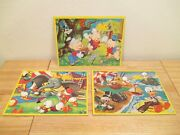 Vintage Disney Character 3 Jaymar Frame Tray Puzzles 3 Little Pigs And Dumbo/ducks