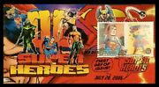 Super Rare Dc Superheroes 3 Fdc Set Rage Cachets - Son Of Therome Cachets
