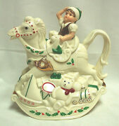 Elk And Rocking Horse Teapot Lenox China Holiday Dimension Pattern  X1081
