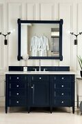 60 James Martin Brittany Victory Blue Single Bathroom Vanity + White Marble Top