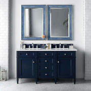 60 James Martin Brittany Victory Blue Double Bathroom Vanity + White Marble Top