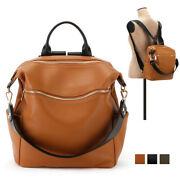 Convertible Casual Uni Backpack School Travel Tote Bag Premium Cowhide Leather