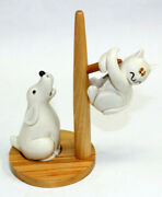 Scared Cat Dog Pole Stand Fitz Floyd Ff Salt Pepper Shakers Japan 1960's Mint