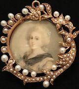 Victorian 14k/seed Pearls Hand Painted French Renaissance Estate Brooch/pendant