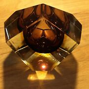 Flavio Poli Wine And Amber Faceted Sommerso Murano Mcm Cased-glass Geode Bowl