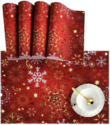 Naanle Christmas Holiday Placemats Set Of 4 Christmas Red Gold Snowflake Non Sl