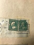 Two Benjamin Franklin One Cent Used Green Postage Stamp