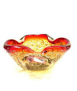 Vintage Murano Golden Yellow Aventurine And Red Bubble Glass Ashtray Dish Bowl