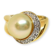 Ladyand039s South Sea Golden Round Pearl 14k Yellow Gold Diamond Ring 11.50mm .30ctw
