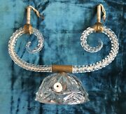 Vintage Pattern Glass Lamp Base W/curled Arms