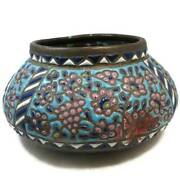 Antique Islamic Bowl, Middle Eastern Enameled Copper Bowl