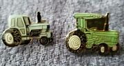 Lot Of 2 Vintage Enamel Tractor Lapel Pins Pinback Mid Century Agriculture