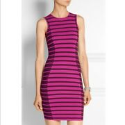 Opening Ceremony Pink Striped Fitted Figure- Flattering Dress Size M