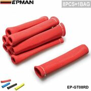 8pcs Red 1200 Degree Spark Plug Wire Boot Heat Sleeve Wrap Protector Header