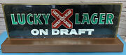 Lucky Lager On Draft Beer Lighted Bar Sign Large 38x15 Ultra Rare Vintage