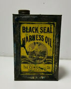Antique Oil Can Black Seal Harness Oil Clinton Oil Co Cleveland Oh C1800and039s