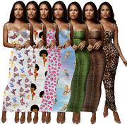 Us Sexy Women Lowcut Spaghetti Strap Colorful Printed Skinny Club Party Dress