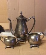Antique Silver Teapot And Mugs Set