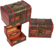 Wooden Treasure Chest Box Set Of 3 Decorative Wood Storage Trunk For Pirate Jew