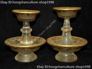 Old Chinese Palace Dynasty Crystal 24k Gold Gilt Candlesticks Candle Holder