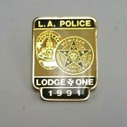 Vintage - L.a. Police Lodge One Fop 1991 Lapel Hat Pin - Lapd Free Shipping